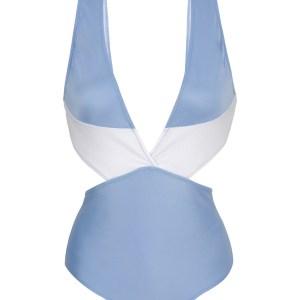 Weiß denimblauer Monokini mit V-Ausschnitt - Garoa Trikini Recorte