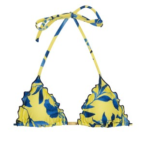 Gelbes Triangel Bikinitop blau gemustert - Top Lemon Flower Frufru