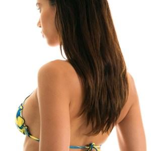Gelbes Triangel Bikinitop, blaue Blümchenmusterung