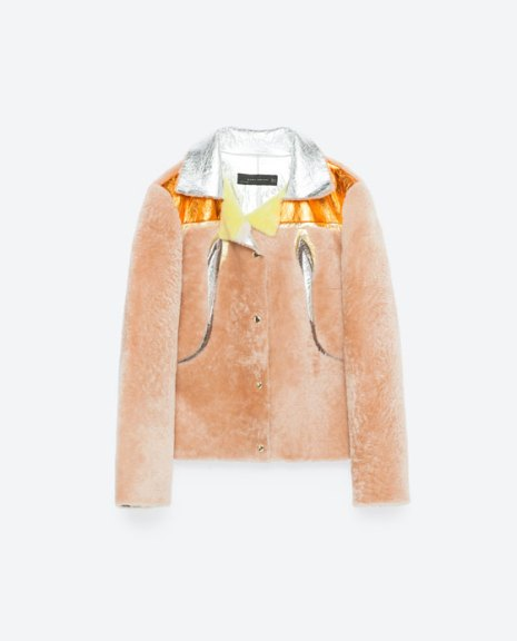 zara multicoloured faux fur jacket