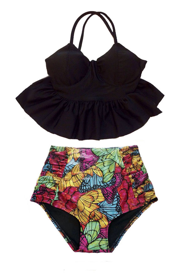 d85df3fedd Swimsuit Bikini Top Long Peplum Black High waisted Bottom Ruched Shorts  Butterfly Colorful