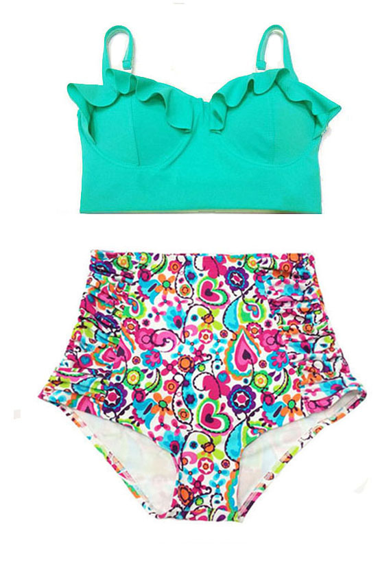 Mint Midkini Top And Colorful Vivid Bliss Graphic High Waisted Waist Rise Pin Up -4232