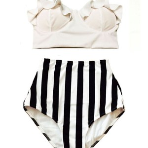 26f509a332d2f White Midkini Top and White Black Stripe Striped Stripes High waist waisted  rise Bottom Handmade Two piece Bikini set Bathing suit Swimsuit Swim suit  ...