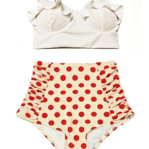 04712f0f91 White Midkini Midkinis Top and Cream Polka dot dots Vintage Retro High  waisted waist rise Bottom Handmade Swimsuit Swimwear Bikini Two Piece set  Swim ...