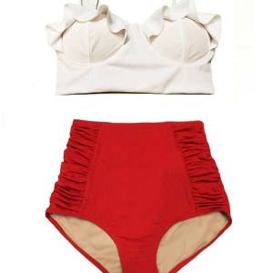 b549955534def White Top and Red Ruched High waist waisted rise Pin up Pinup Woman Women  Womens Handmade Bikini set Two piece Swimsuit Swimwear Swim Swimming  Bathing suit ...