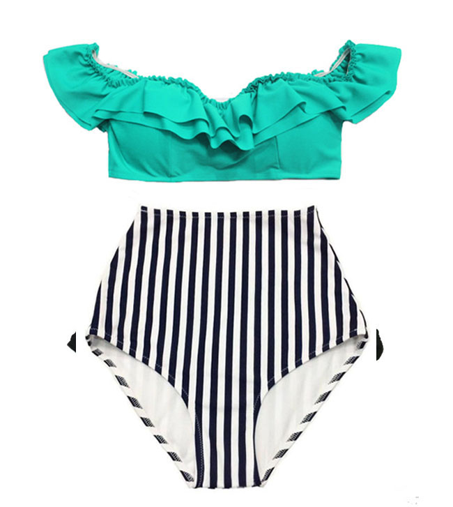 1029eb55a3f4d Swimsuit Bikini Top Off The Shoulder Mint High waisted Bottom Shorts Stripe  Striped