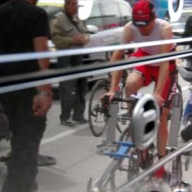 BMC rider Johann Tschopp warming up before final time trial at 2012 Tour de Romandie.