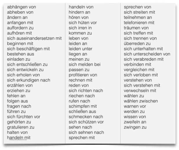 الأفعال الألمانية مع حروف الجر فى حالة الجر
