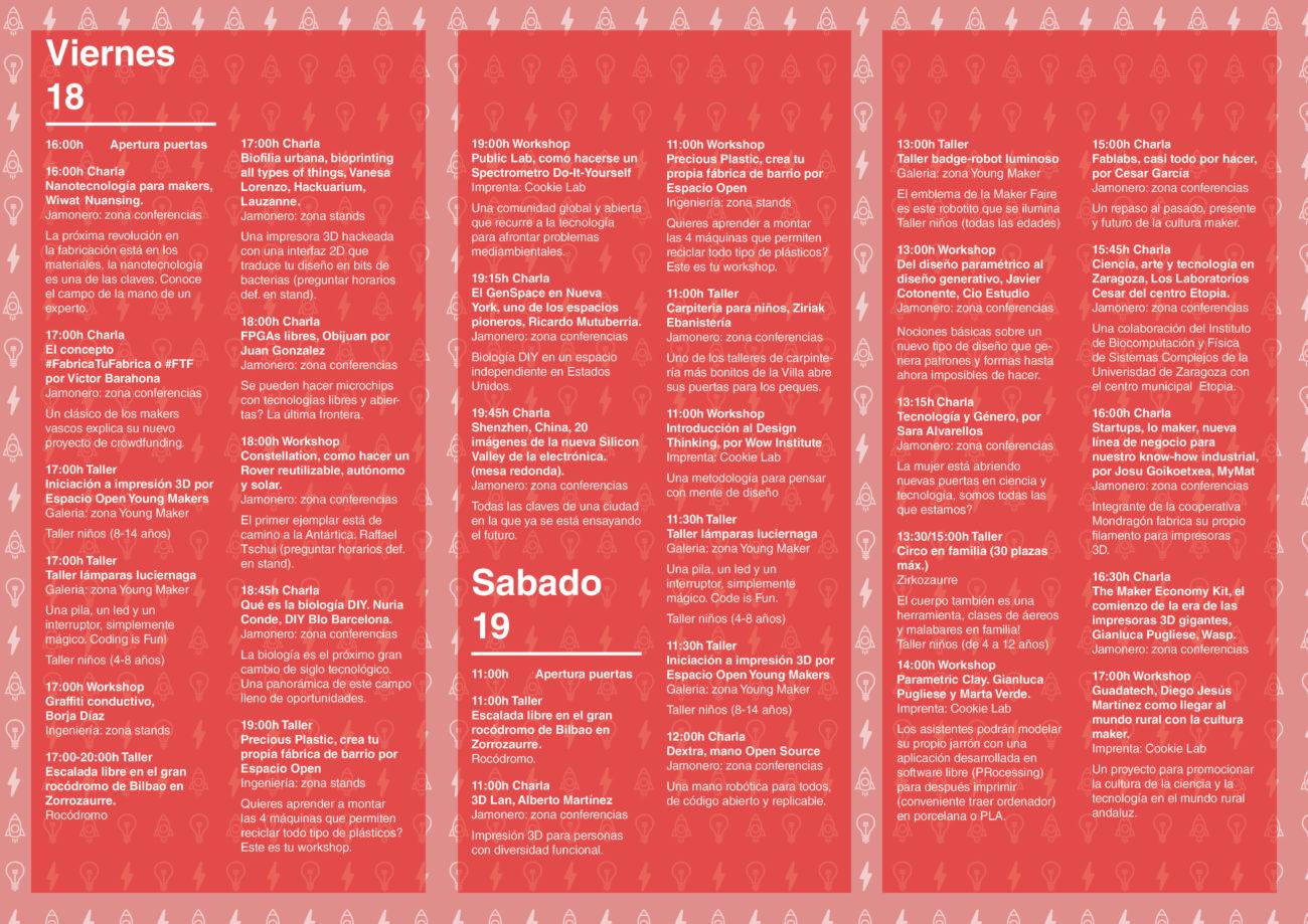 Programación Maker Faire Bilbao 2016 Viernes y Sabado