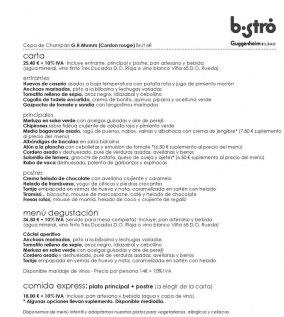 Carta de verano 2014 del Bistro Guggenheim Bilbao