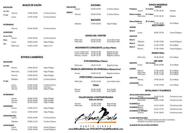 Horarios BilbaoBaila Dantza Eskola1 2016-2017