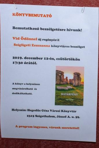 Könyvbemutató plakát - Vid Ödön Határfény, 2019.12.13.