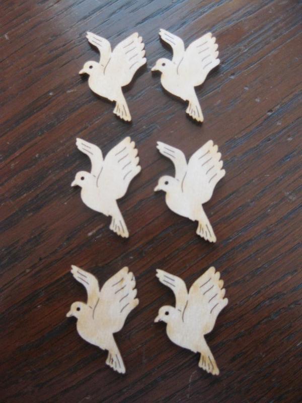 Tischdeko Taube aus Holz natur 6 Stck zur Taufe