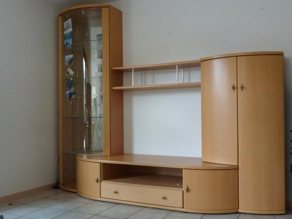 Moderner Wohnzimmerschrank massiv Buche mit runden Tren