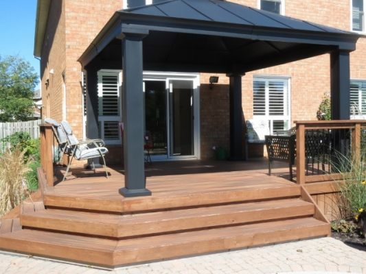 Wooden Deck with Black Awning