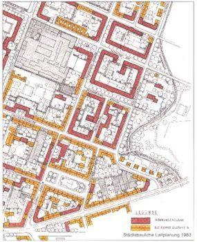 Ausriss aus dem städtischen Leitplan, von der Prießnitz bis zur Rothenburger Straße. Rot sind geplante Neubauten