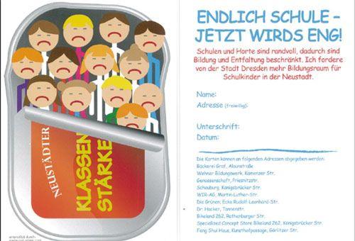 Postkartenaktion gegen Schulnotstand