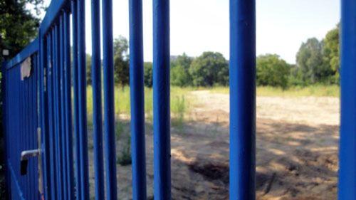 Das blaue Eingangstor erinnert an die alte Kita und verwehrt den Zutritt zum Unkrautwald.