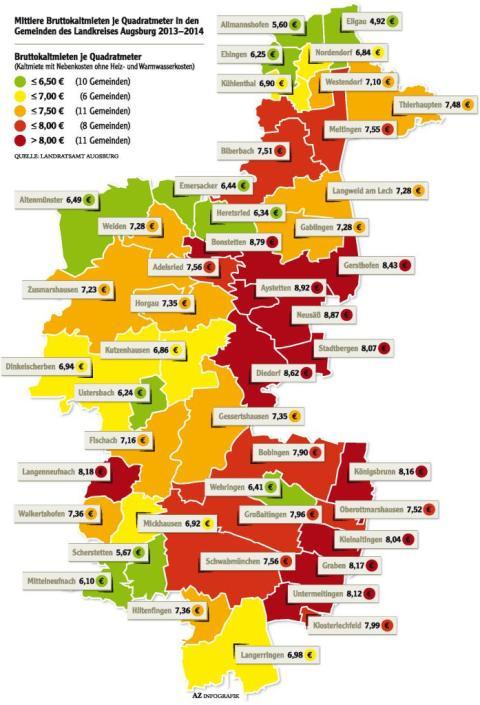 Die Mieten im Landkreis Augsburg steigen Eine Erhebung zeigt die teuren Pflaster  Nachrichten