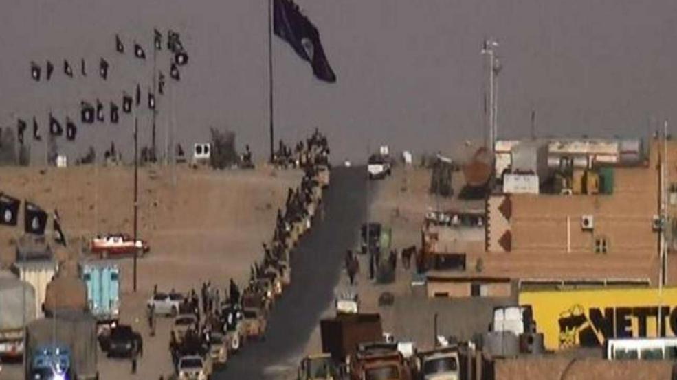 Die ISIS-Terroristen feiern ihren Einzug in der Provinzhauptstadt Ramadi. Rechts unten im Bild: Ein LKW des Discounters Netto mitsamt Hundemaskottchen