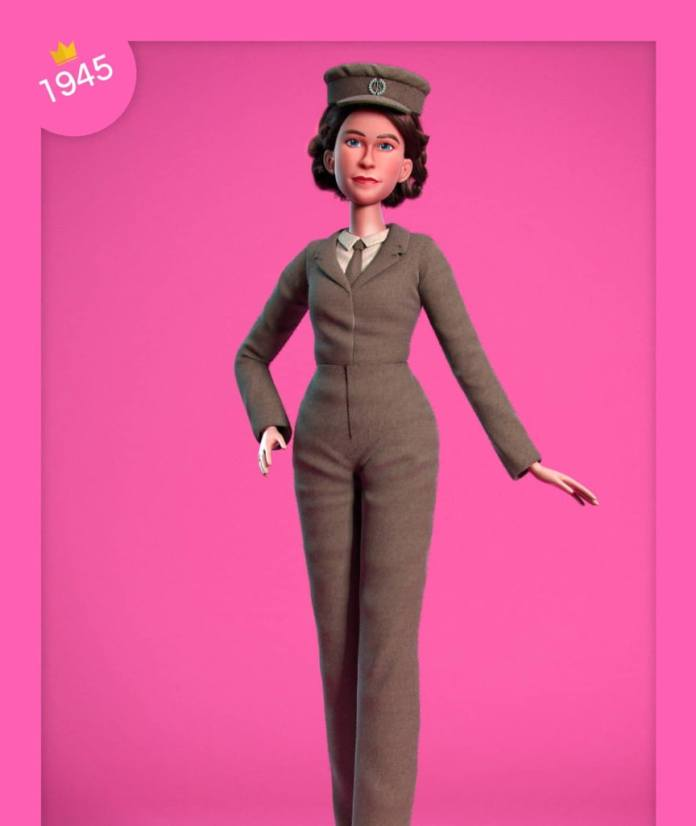 The doll: royal attitude in a worker outfit