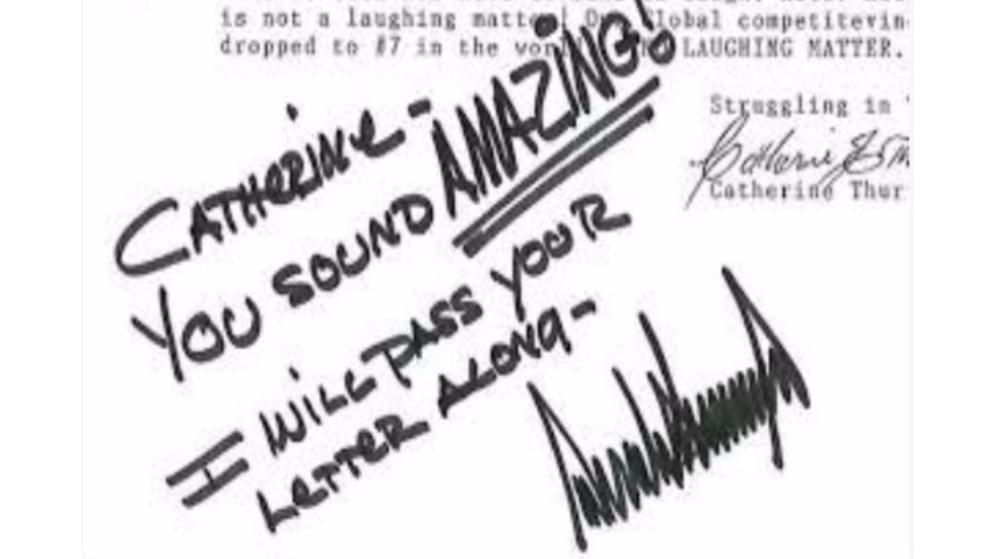 Eine handschriftliche Notiz von Donald Trump