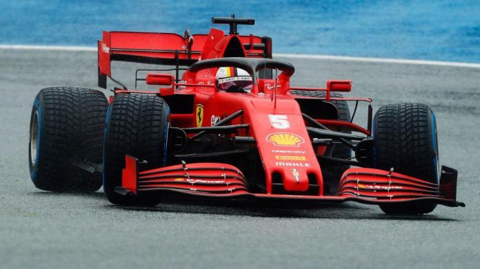 Sebastian Vettel in der Qualifikation von Spielberg am Samstag unterwegs auf Regenreifen