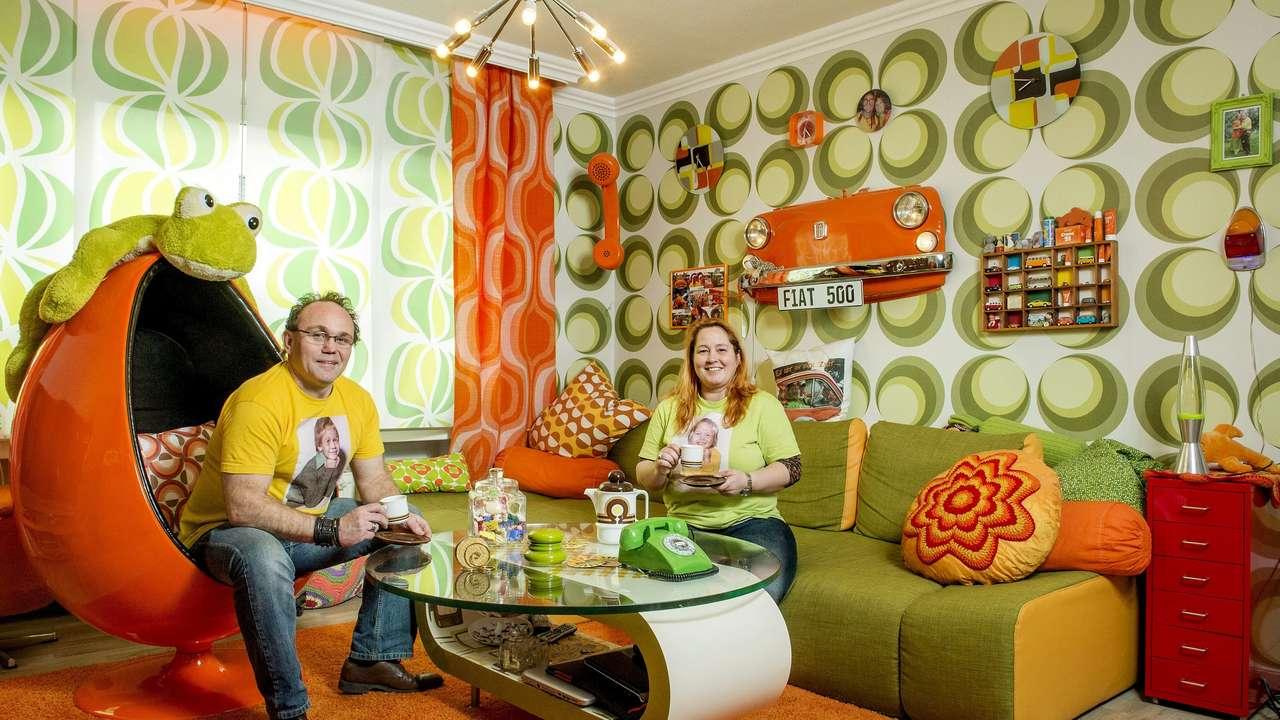 Familie Fletzoreck lebt komplett im SeventiesLook Wir sind die 70er  Dsseldorf  Bildde