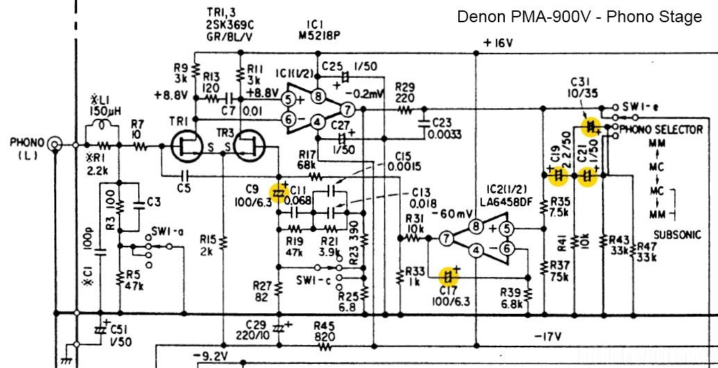 Denon PMA 900V Schematic Detail Phono Section Capacitors