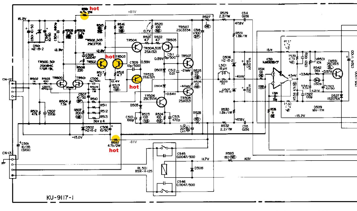 Denon POA 6600 Schematic Detail Power Amp Hot Transistors