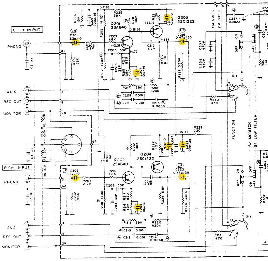 Luxman R 1030 Schematic Detail Phono Section