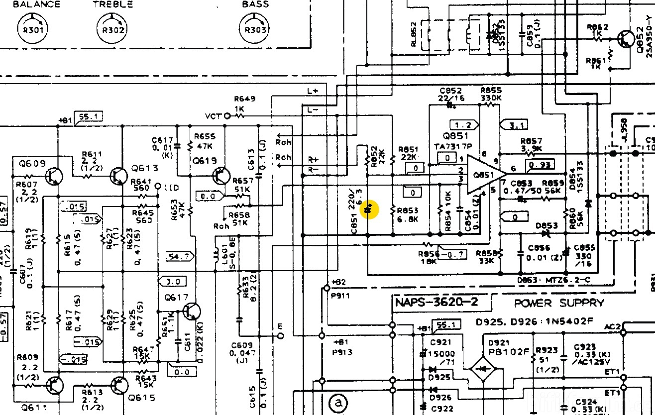 Onkyo A 8670 Schematic Detail Protection Circuit Defective