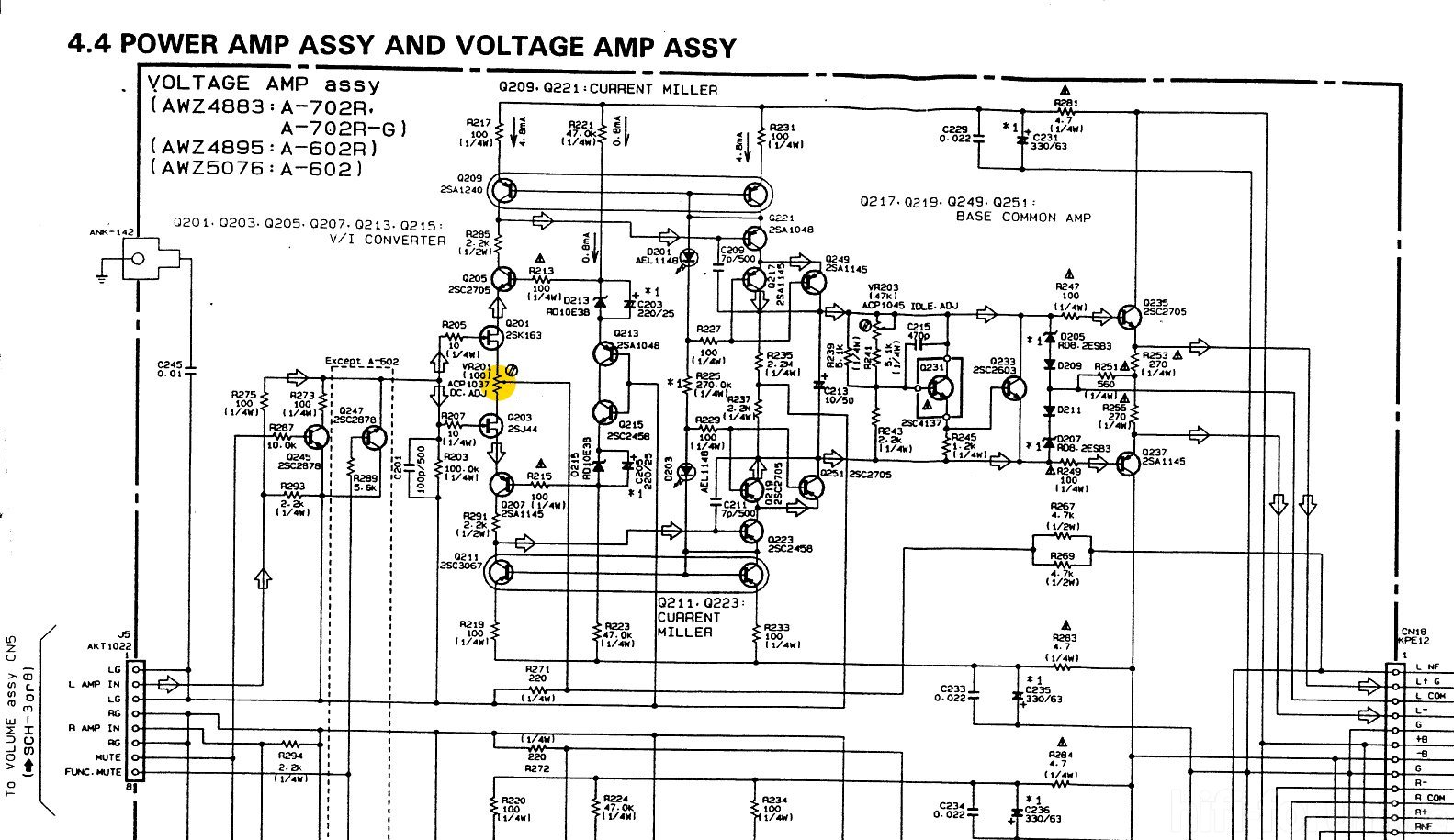 Pioneer A 702r Schematic Detail Power Amp Voltage Amplifier Assembly Offset Adjustment Marked