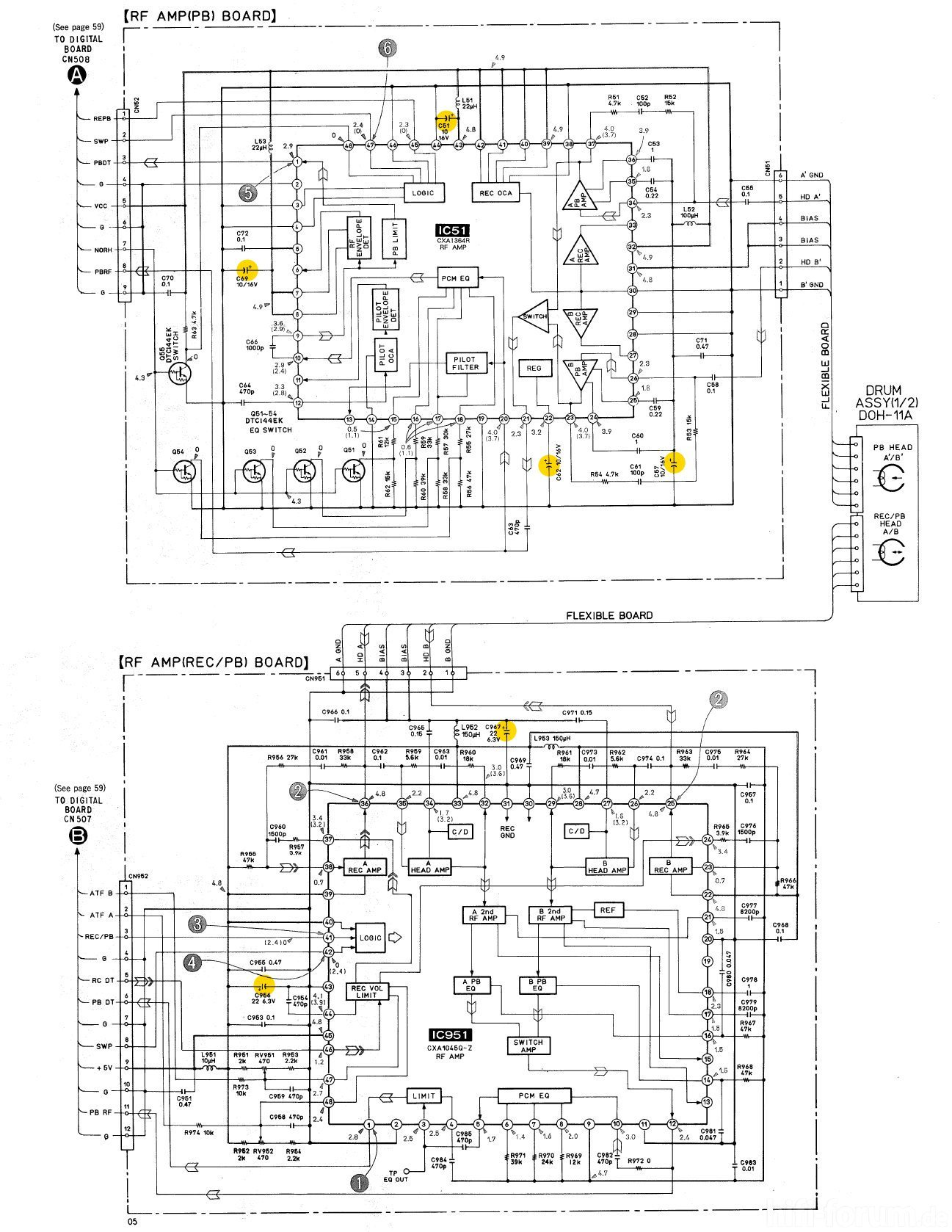 Sony Pcm A Schematic Detail Head Amps Capacitors