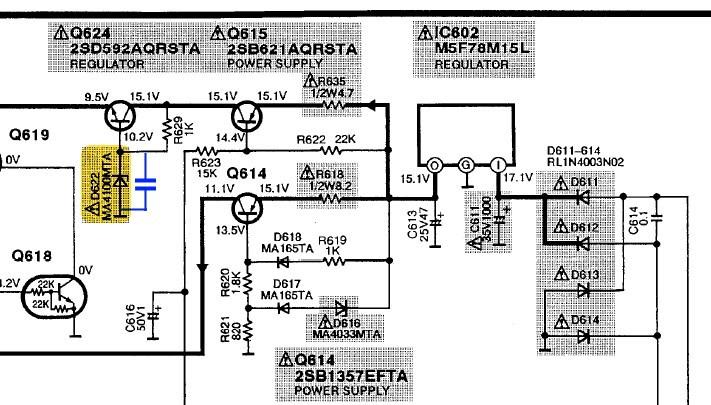 Technics SU C1000 Schematic Detail Regulator For Tone Amp