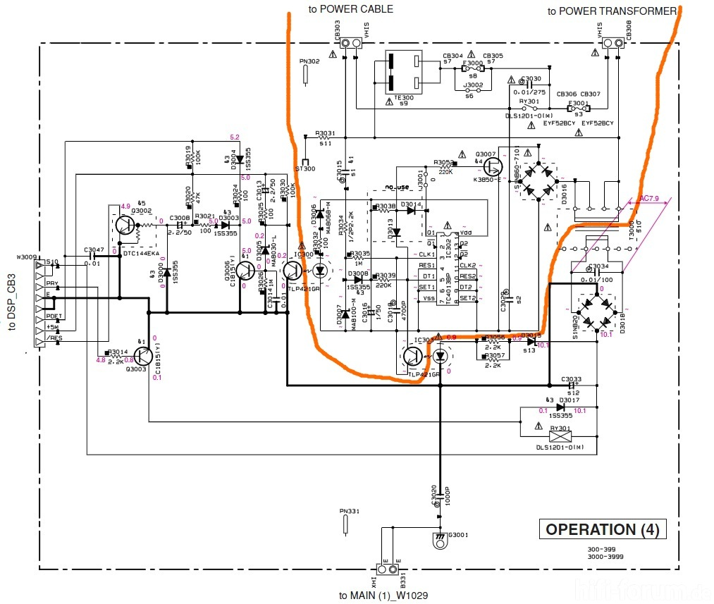 Yamaha RX V559 Schematic Control Power Section OPERATION(4