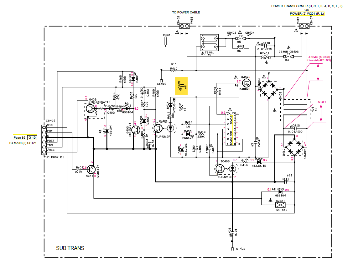 Yamaha Rx V750 Schematic Detail Standby Circuit C405