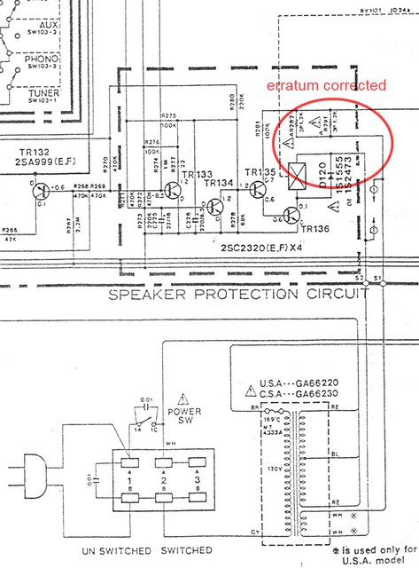 Yamaha A 500 Schematic Detail Protection And Power