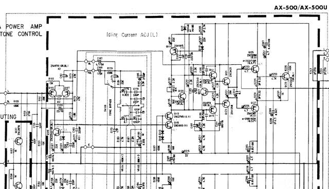 Yamaha AX 500 Schematic Detail Power Amp & Tone Control
