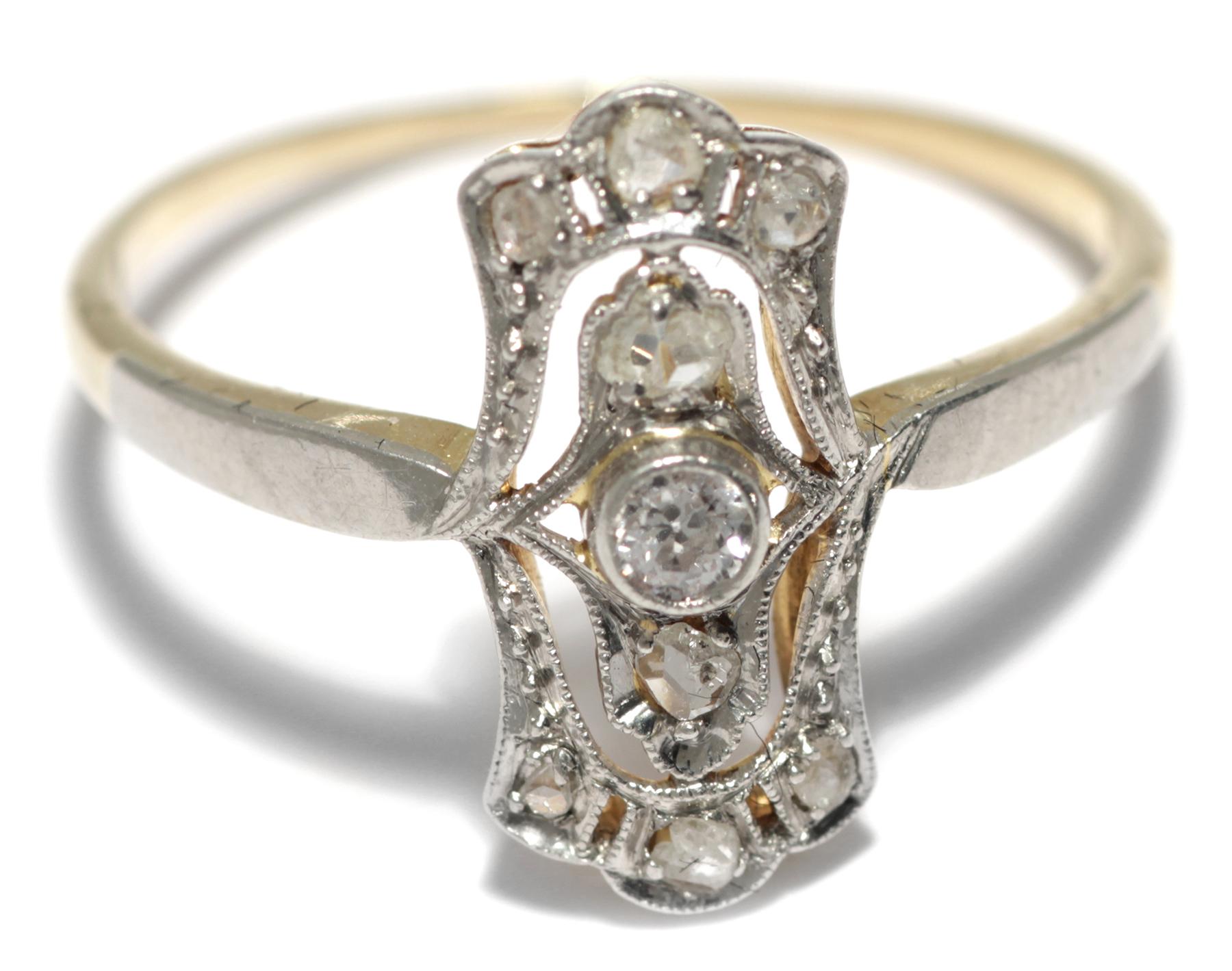 Zarter JUGENDSTIL RING um 1910 DIAMANTROSEN 750 Gold