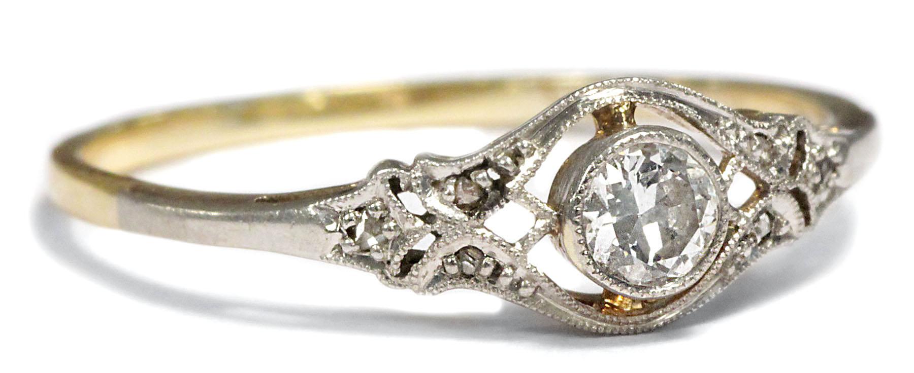 Antiker Verlobungsring DIAMANT RING Jugendstil um 1910