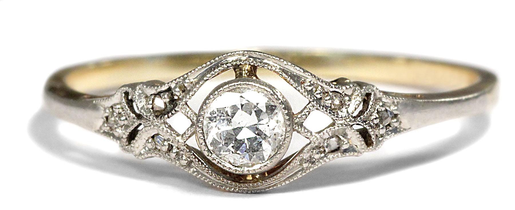 Antiker Verlobungsring DIAMANT RING Jugendstil um 1910 Solitr Gold Platin  eBay