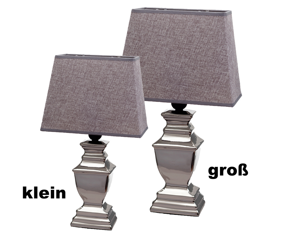 Tischlampe Lampe Keramik silber Lampenschirm grau schwarz