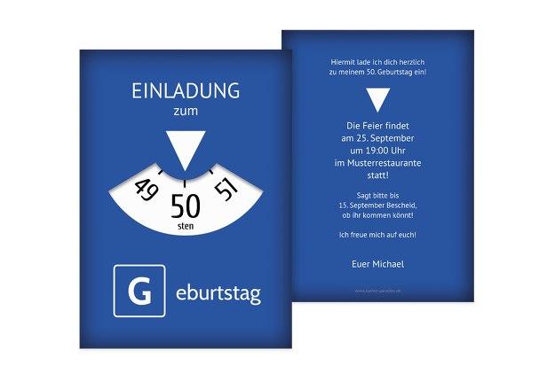 Einladungskarte Parkuhr 50