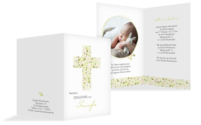 Taufkarte Blumenkreuz selbst gestalten