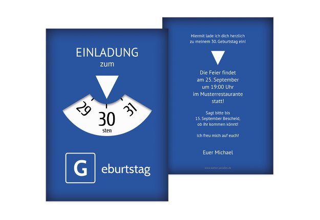 Einladungskarte Parkuhr 30