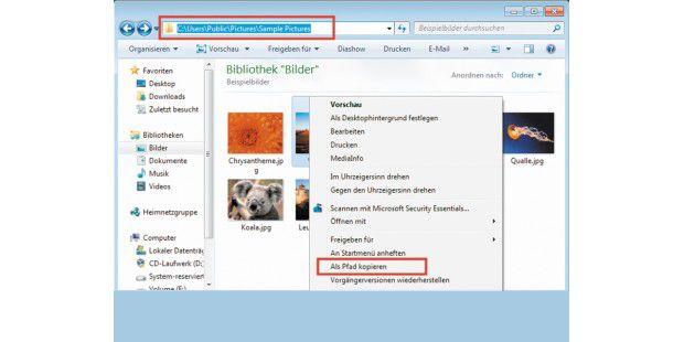 """Pfade aus dem Windows-Explorer lassen sich in die Zwischenablage kopieren; anschließend navigieren Sie schnell zu diesem Ordner. Bei gedrückter Shift-Taste rufen Sie im Kontextmenü von Dateien oder Ordnern den Eintrag """"Als Pfad kopieren"""" auf. Windows kopiert dann den Pfad in die Zwischenablage, und Sie können ihn sodann einfügen."""