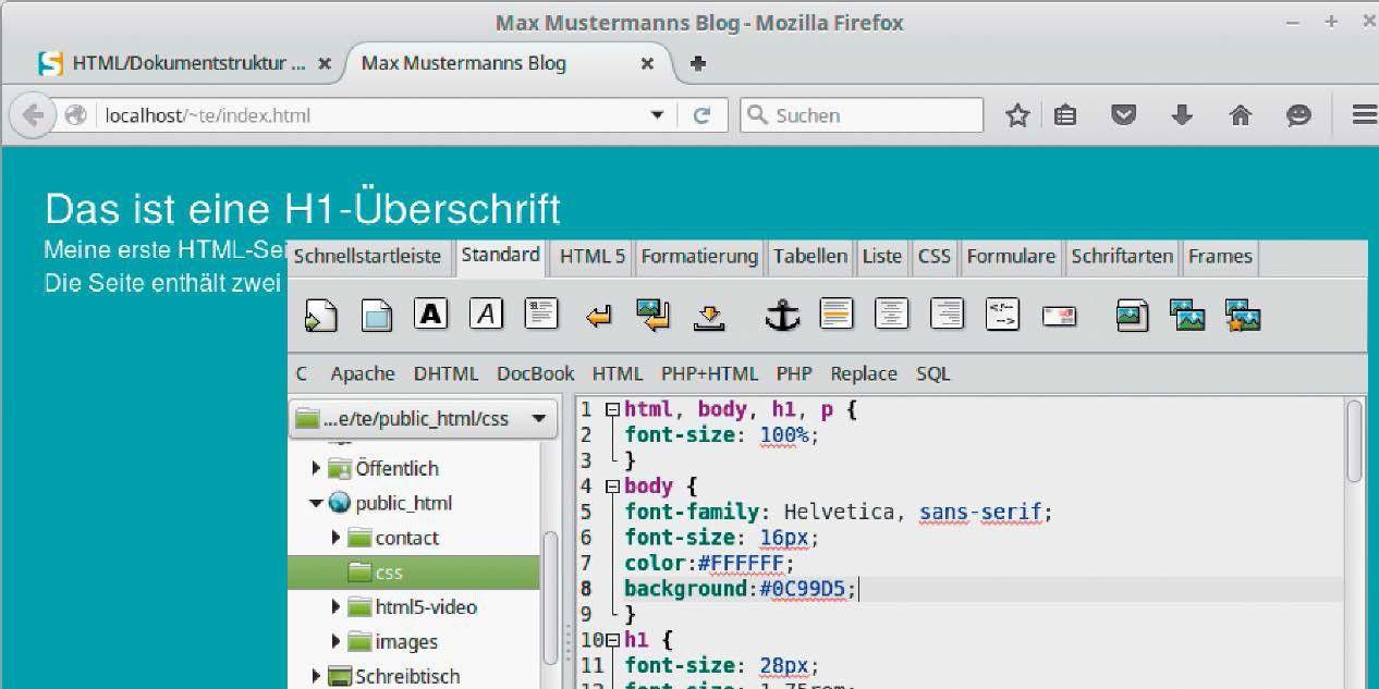 vergrossern wie uberschriften und absatze aussehen bestimmen sie uber den css code
