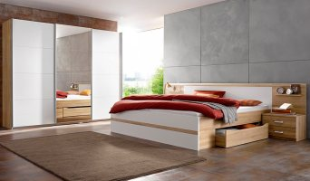 Schlafsofa Couch Schlafzimmer Set Schwebetürenschrank