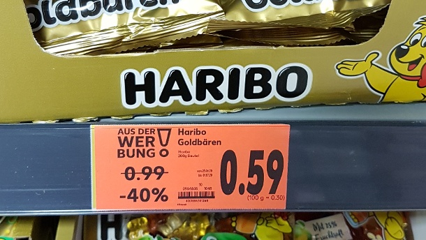 A bag of Haribo gold bears currently costs 0.59 euros at Kaufland - the red sign indicates this.  (Source: t-online.de/privat)